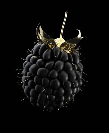 3d Illustration of Golden Raspberry isolated on black background Imagens