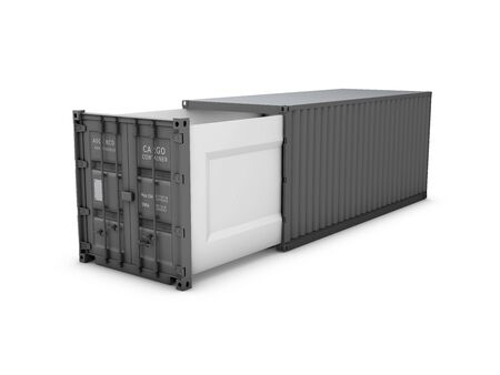 Opened shipping container, 3d Illustration isolated white Stock Photo