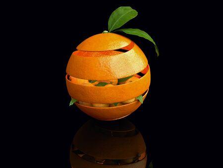 3d Illustration of Orange fruit with orange leaves