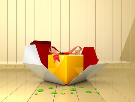 3d Illustration of Decorative gift box with red bow. Banco de Imagens - 129236713