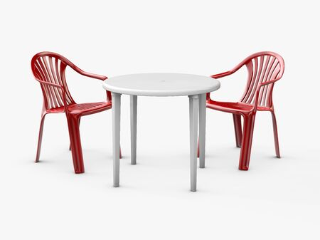 Plastic table and chairs isolated on white, 3d Illustration 写真素材