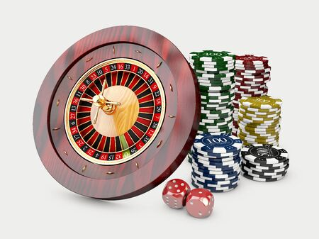 Casino chips stacks with roulette and dice. 3d Illustration on white background. 版權商用圖片