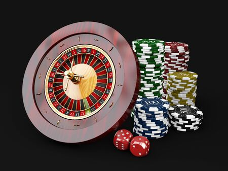 3d Illustration of Casino roulette, on black background