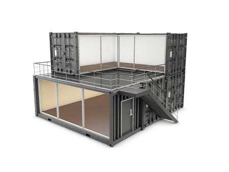 3d Illustration of Converted old shipping container into office, isolated gray