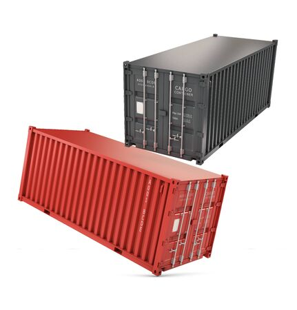 3d Illustration of a stack of two sea freight containers, isolated on white background