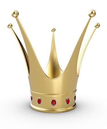 Beautiful 3d illustration of a gold Princess crown