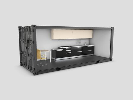 3d Illustration of Converted old shipping container into kitchen room, isolated gray Stockfoto