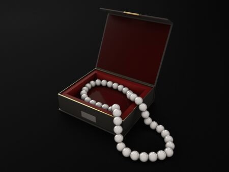 3d Illustration of open wood jewelry box with pearls Stockfoto