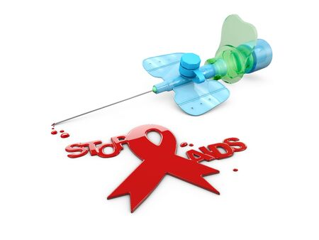 Aids Awareness Red Ribbon. World Aids Day concept. 3d Illustration
