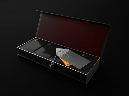 Opened Square Black Boxes Mockup with four square box in and with labels 3d Illustration