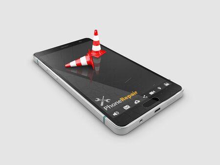 3d Illustration of Broken mobile phone screen isolated gray. Stockfoto