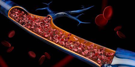 3d Illustration of red blood cells in vein Reklamní fotografie