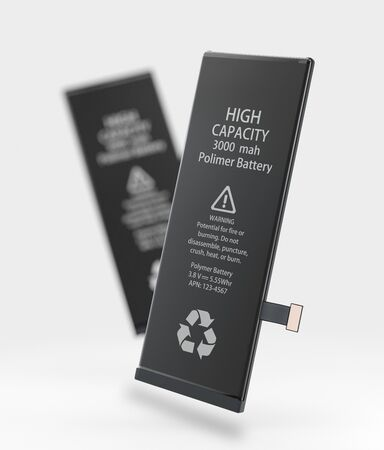3d Illustration of Rechargeable cell phone battery. on blured background.