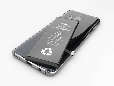 3d Illustration of Battery and cellphone, replace battery concept. Stockfoto