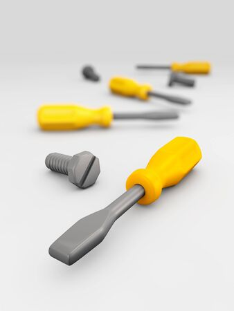 3d Illustration of screwdriver and bolts isolated on blurred background. Repair and maintenance concept.