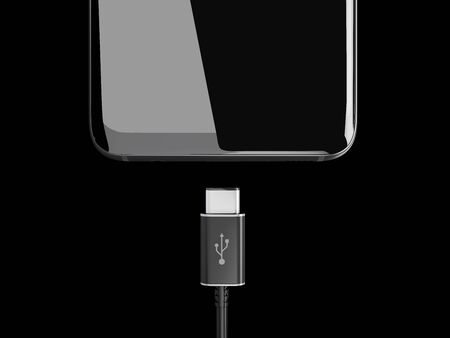 3d Illustration of USB cable for smartphone on black background