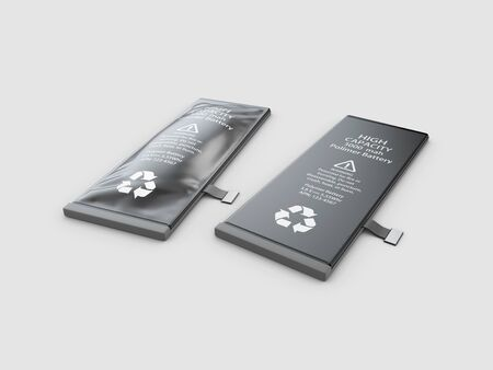 3d Illustration of Swollen mobile phone battery. Expired or low quality battery