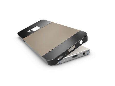 3d Illustration of smartphone back cover on a white background