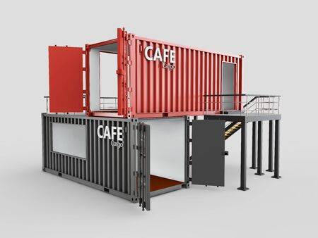 Converted old shipping container into cafe, 3d Illustration isolated gray.