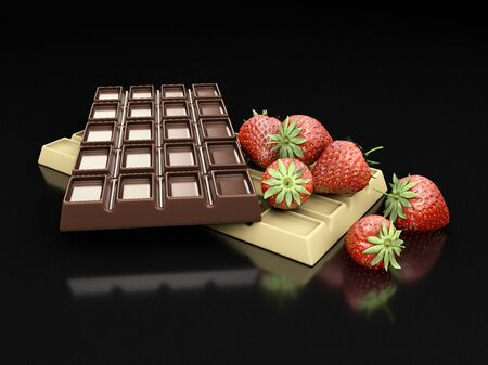3d rendering of dark and white chocolate bars with strawberry isolated on black