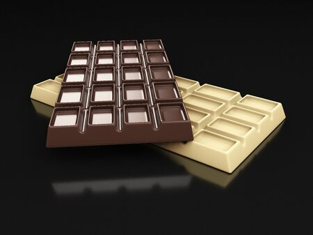 3d rendering of dark and white chocolate bars isolated on black Stockfoto