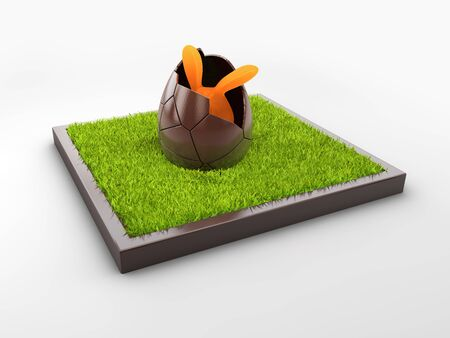 3d Rendering of Chocolate Easter egg with the top broken