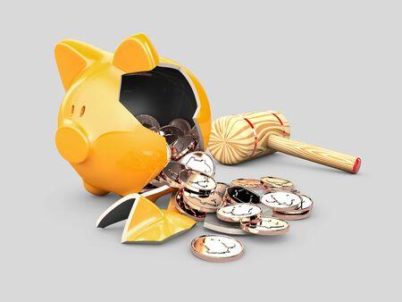 3d rendering of broken piggy bank with money Stockfoto