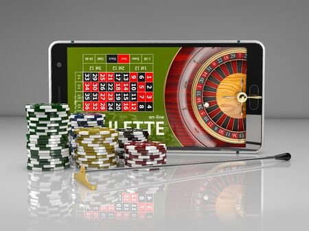 3d Rendering of Online Internet casino app, roulette with chips, gambling casino games. Stockfoto