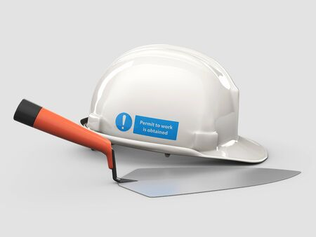 3d Illustration of Realistic Trowel and Helmet isolated on gray background Stockfoto