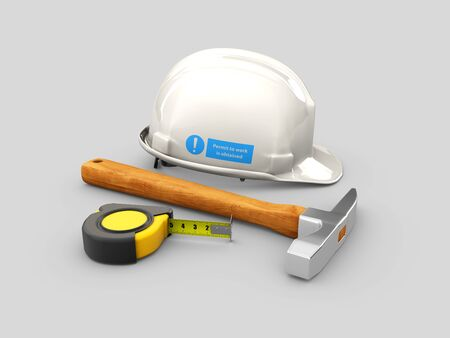 3d Illustration of Realistic Tape with hammer and Helmet isolated on gray background.