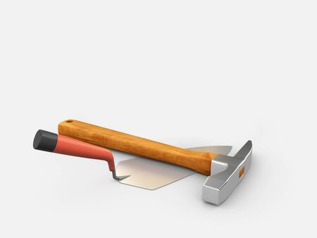 3d Illustration of Realistic Trowel and Hammer isolated on gray background. Stockfoto