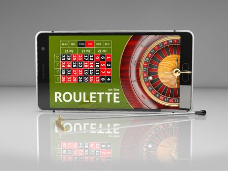 3d Rendering of Online Internet casino app, roulette with phone, gambling casino games