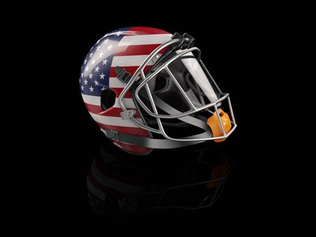 3d Rendering of Rugby helmet with USA flag for web and mobile design