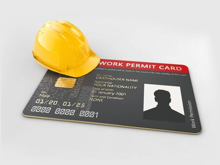 3d Rendering of work permit id card isolated white Stockfoto