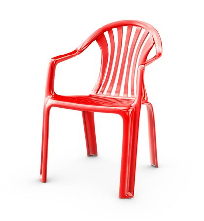 3d Rendering of Red plastic chair on a white background.