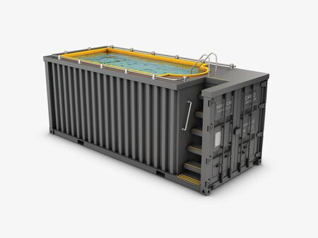 Converted old shipping container into swimming pool, isolated white 3d Illustration.