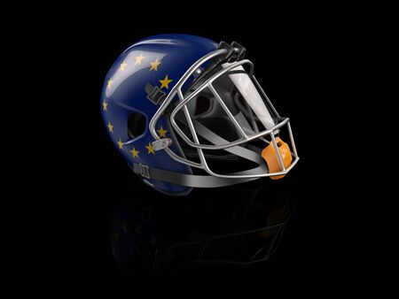 3d Rendering of Rugby helmet with EU flag for web and mobile design 写真素材