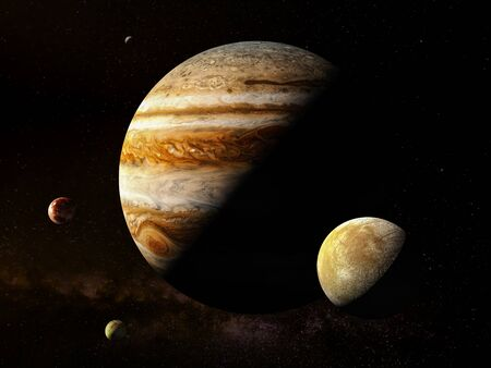 Jupiter with moons - High resolution 3D Rendering images presents planets of the solar system.