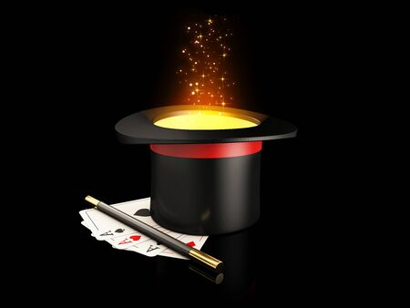 3d Rendering of Magic Hat With Shine, Magic wand and play cards