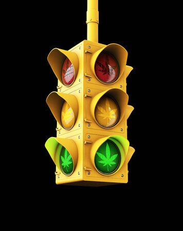 3d Rendering of Marijuana legalization issue - green traffic light with marijuana leaf concept