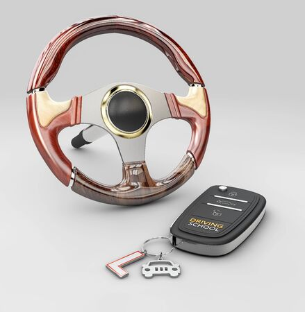 3d rendering of steering wheel with auto key, isolated on gray