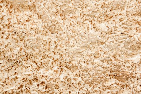 Close up view on wood shavings. Abstract background Stok Fotoğraf - 134437022