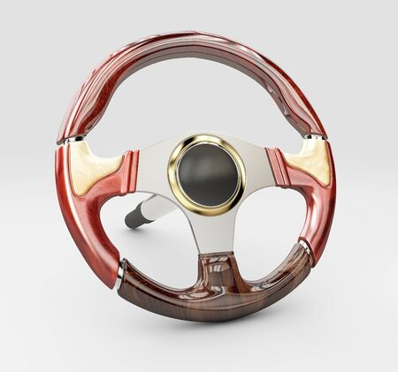 3d rendering of Steering wheel, isolated on the white background