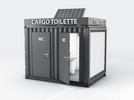 3d Illustration of Converted old shipping container into wc cabine, isolated white