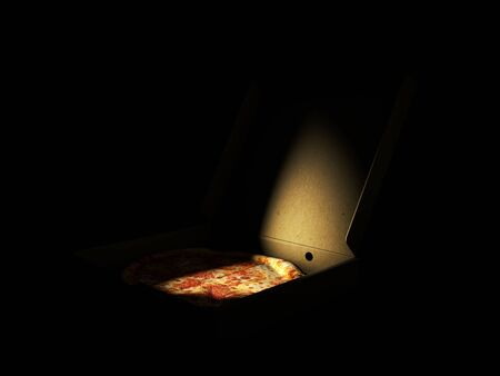 3d Rendering of Pizza in a cardboard box against a dark background. Pizza delivery or Pizza menu content 版權商用圖片