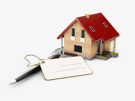 3d Illustration of House model with pencil and card, banking concept.