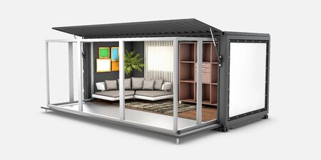 3d Illustration of Container House. Reuse Container for livingroom.