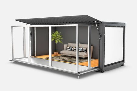 3d Rendering of Container House. Reuse Container for livingroom