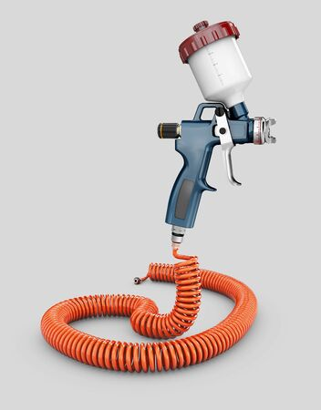 3d Rendering of Spray Gun isolated over a gray background