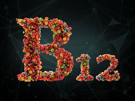 3d Rendering of vitamin B12 on abstract background. Concept of dietary supplements 版權商用圖片